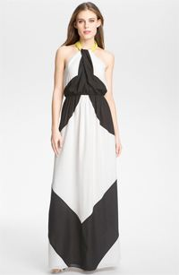vince colorblock maxi chiffon dress