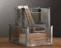 restoration hardware metal bins